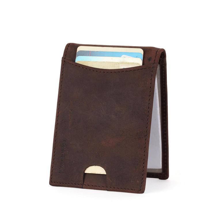 Leather Factory Minimalist Leather Wallets Money Clip Wallet LT-BMM001