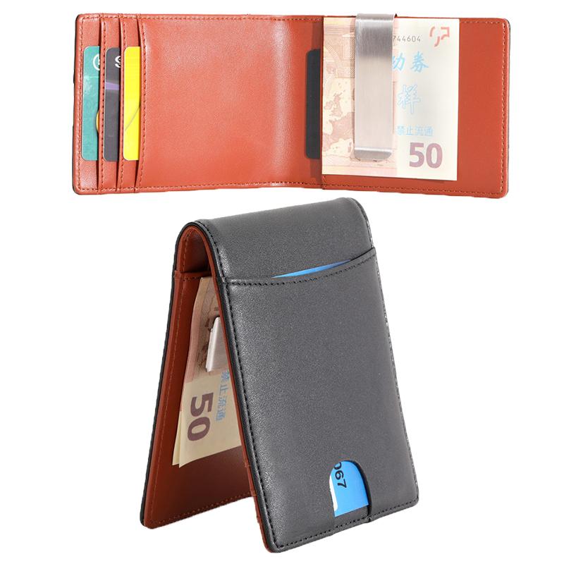 HOT Men RFID Blocking Leather Wallet Money Clip Credit Card Holder  Slim Pocket