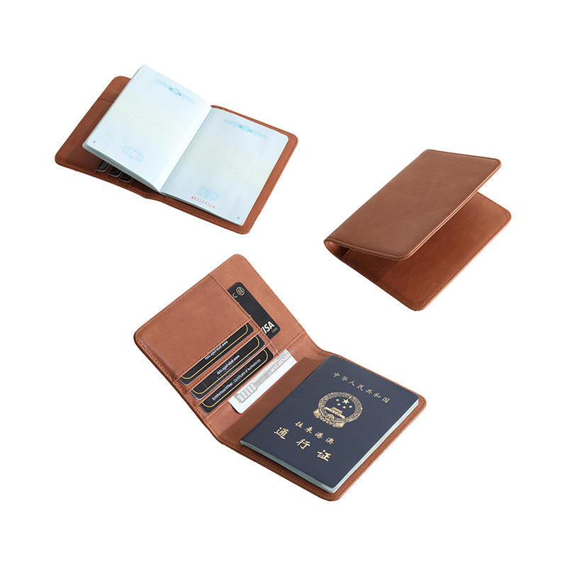 OEM Rfid Blocking Wholesale Men Travel Wallet Passport Cover Vintage Genuine Leather Passport Holder