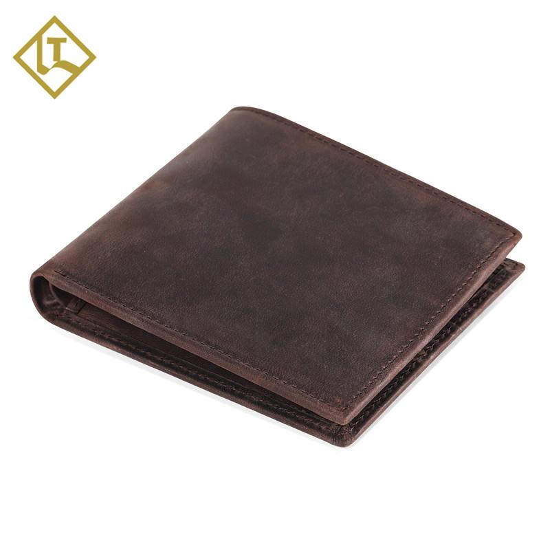 Men's RFID Blocking Vintage Italian Genuine Leather Slim Bifold Wallet Handmade