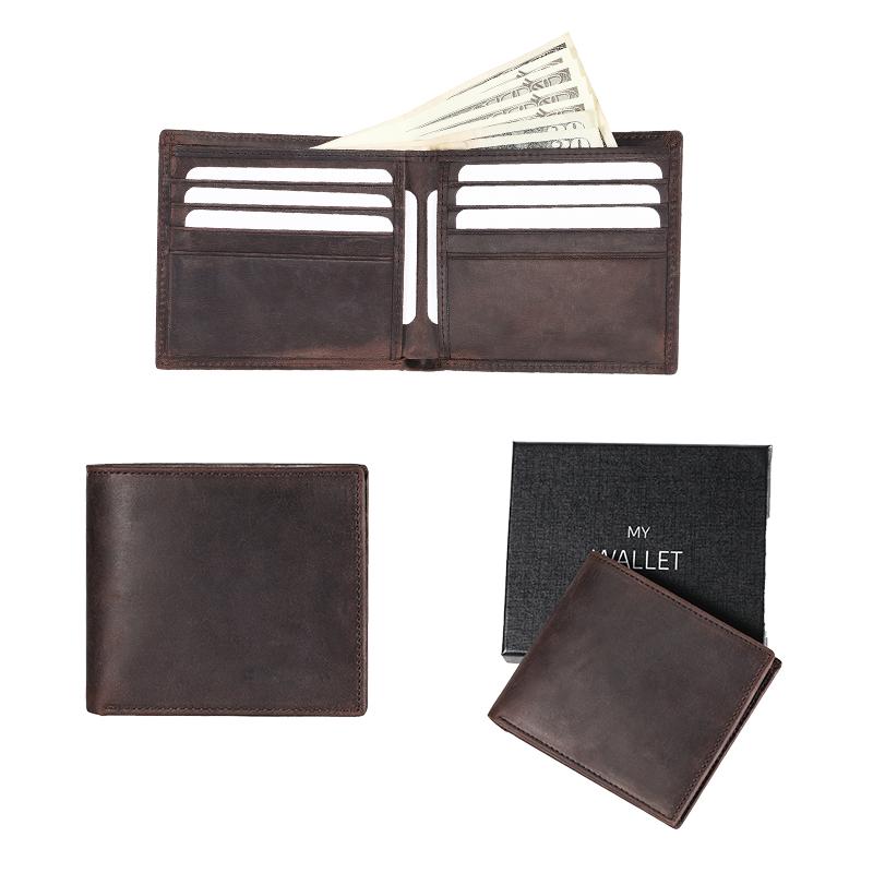 New Men/'s Genuine Leather RFID Blocking Vintage Italian Slim Bifold Wallet