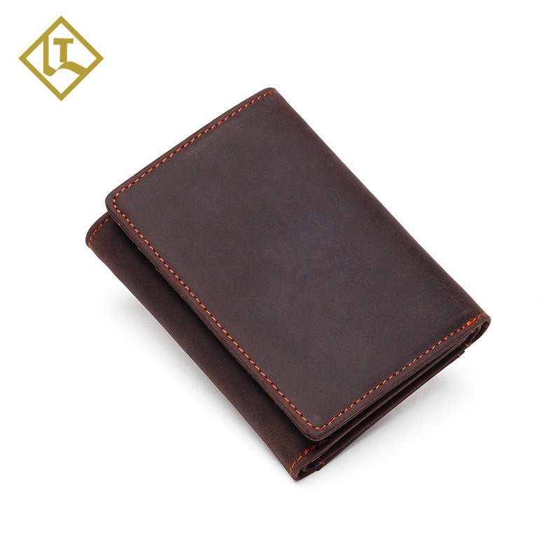 RFID Leather Trifold Wallets for Men Handmade Slim RFID Wallet with Coin Pocket