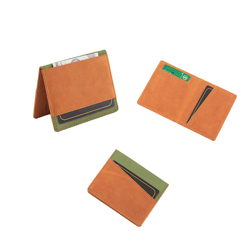 Casua Leather and Canvas Wallet Front Pocket Bifold Card Holder RFID Credit Card Blocking Wallet