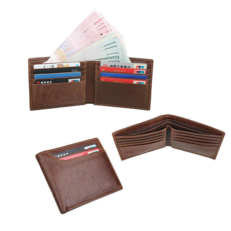 Cowhide Genuine Leather Men's Leather Travel Wallet with Flip ID Window  LT-LW004