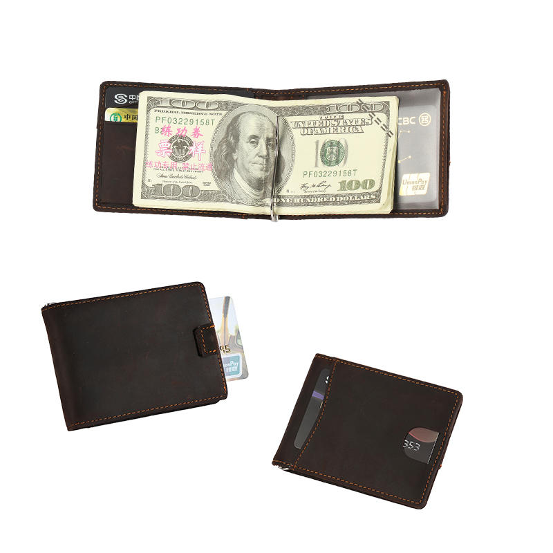 RFID blocking custom leather money clip slim biford mens wallet LT-BMM016