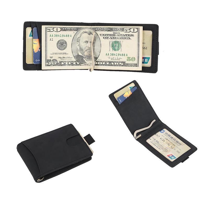 RFID custom leather money clip Wallet slim biford wallet Factory LT-BMM027