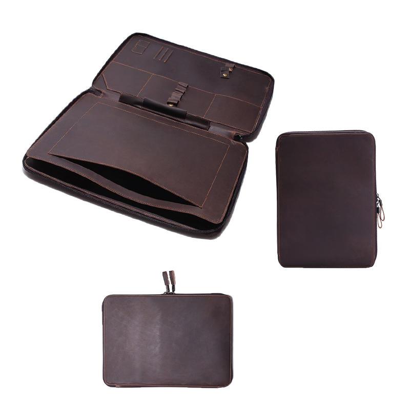 2018 new vintage laptop bag genuine horse leather mens laptop sleeve case leather Computer bag