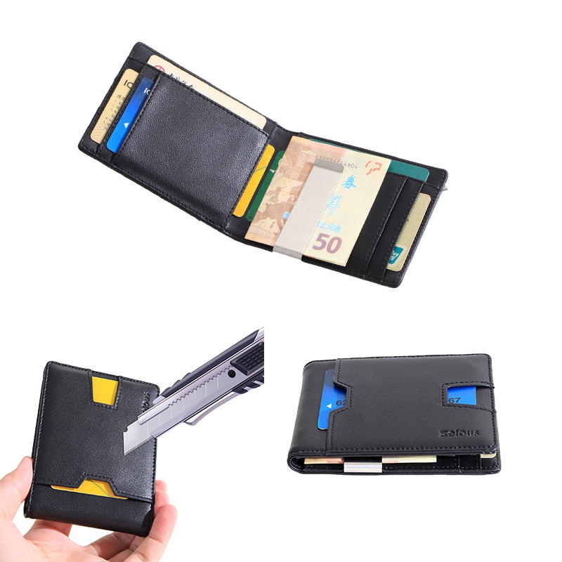 custom logo environmental protection leather credit card holder wallet Waterproof leather money clip wallet LT-BMW076