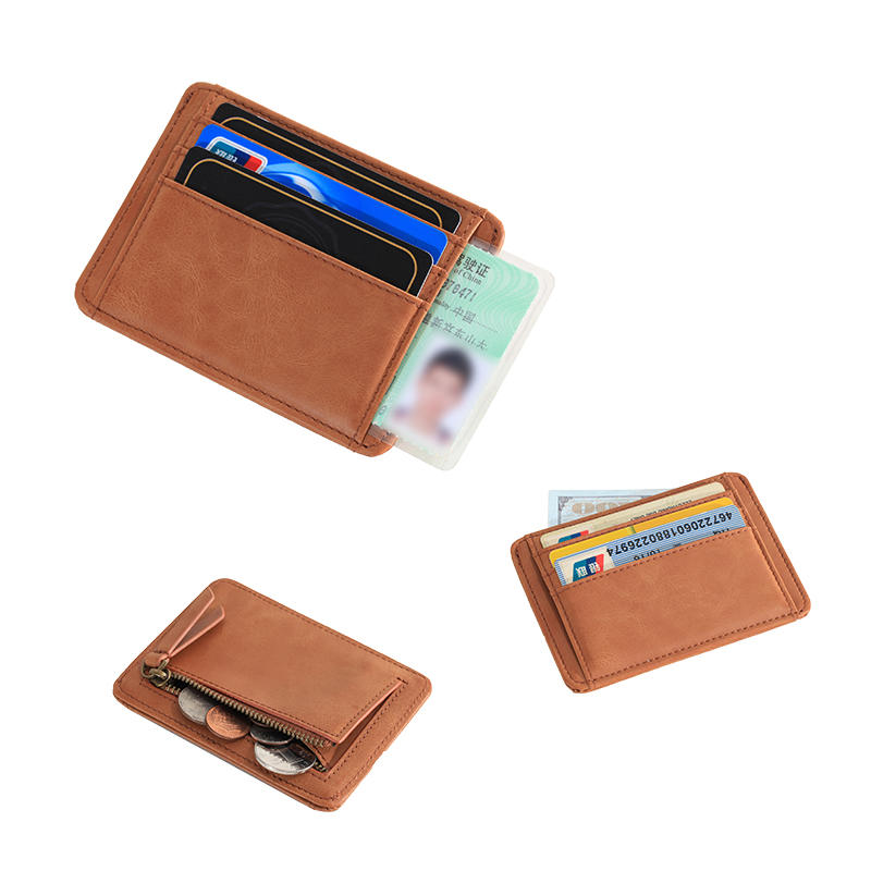 Slim Leather Wallet Minimalist Card Holder Rfid Leather Wallet Manufacturer LT-BMC090