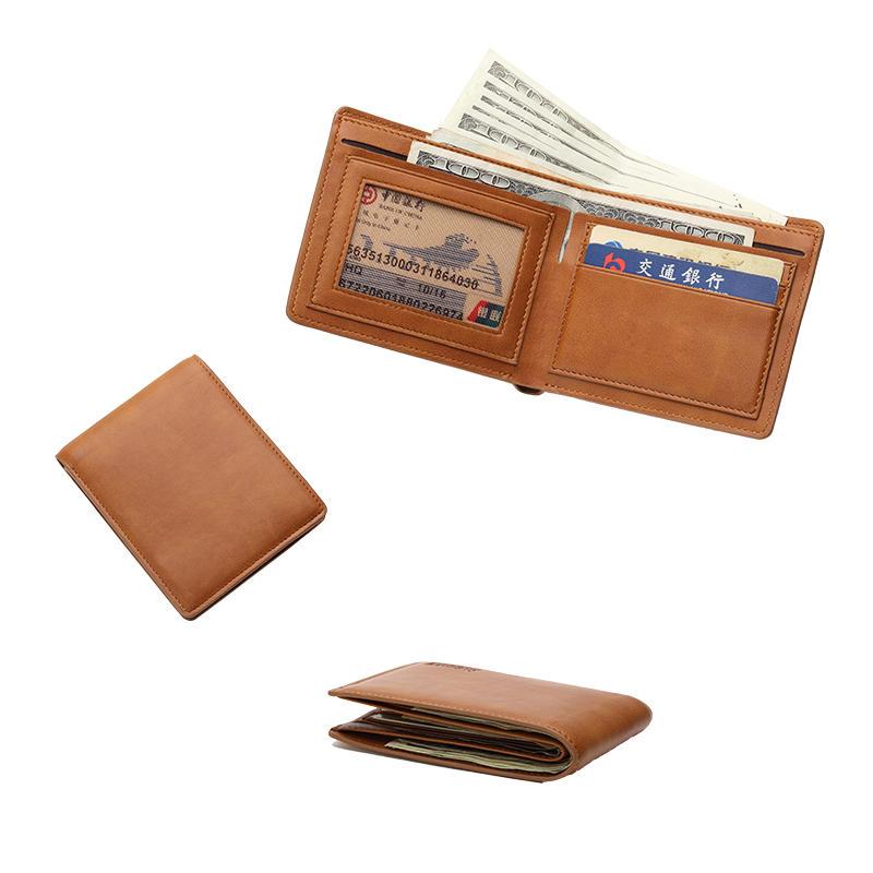 Mens Bifold Wallet Brown Handmade Leather Wallets LT-BMW009