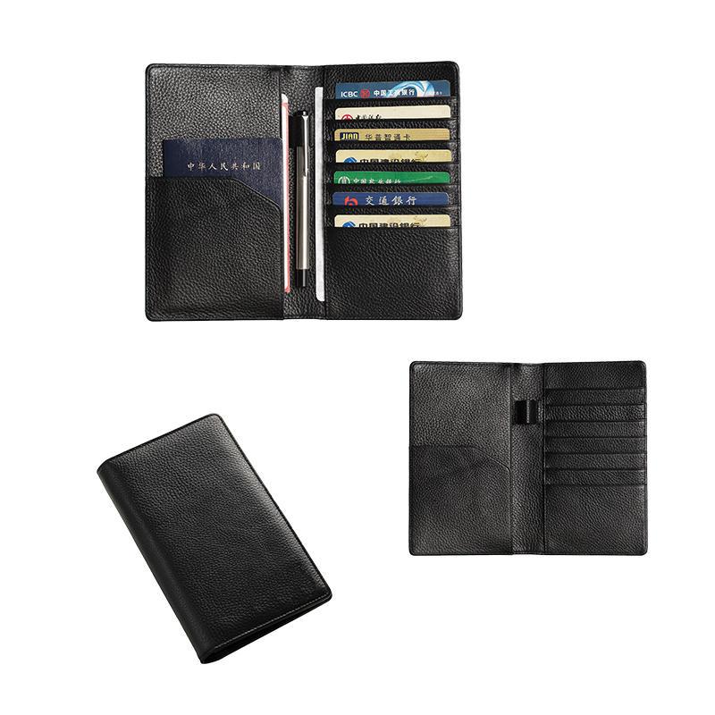 RFID Blocking Genuine Leather Passport Holder Cover Case Pen Holder Travel Passport Holder Wallet LT-BMP016