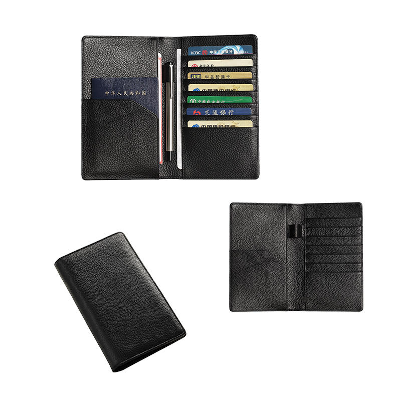 RFID Blocking Genuine Leather Passport Holder Cover Case Pen Holder Travel Passport Holder Wallet LT-BMP016