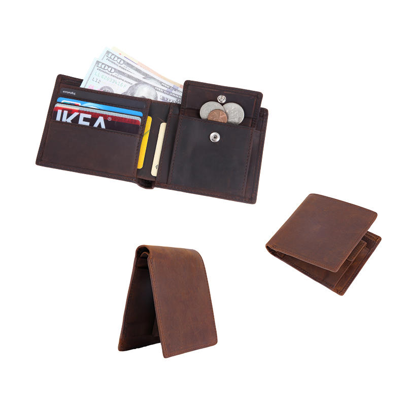 Genuine Leather RFID Blocking Bifold Wallet With Coin Pocket Handmade Leather Wallet LT-BMW058