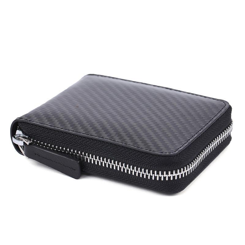 Slim carbon fiber wallet with zipper saffiano handmade leather wallet credit card holder minimalist wallet LT-BMW041