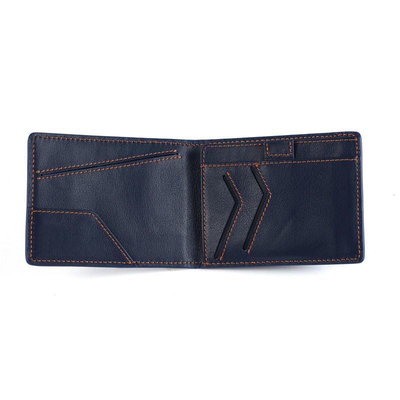 Men's RFID Blocking Genuine Leather Slim Wallet Minimalist Wallet Handmade Leather Wallet LT-BMW019