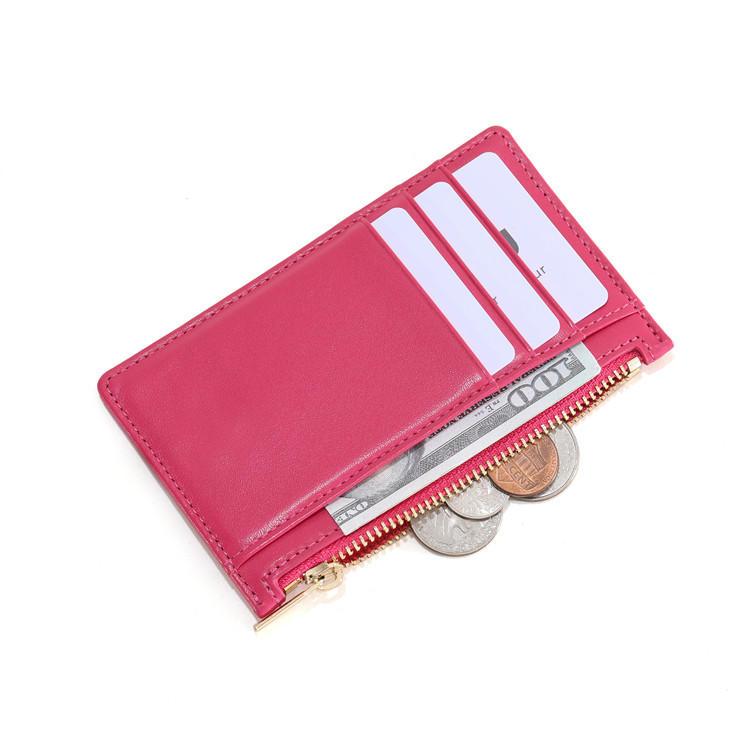 Slim Minimalist Wallet Zipper Wallet RFID Front Pocket Credit Card Holder LT-BMC106
