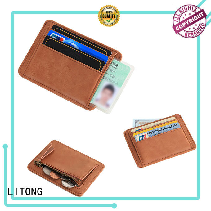 durable leather id card holder men bulk production for cash