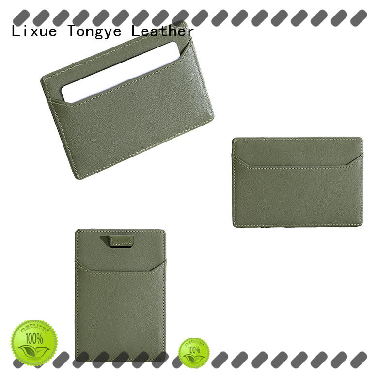 LITONG slim leather card case certification for shopping cards