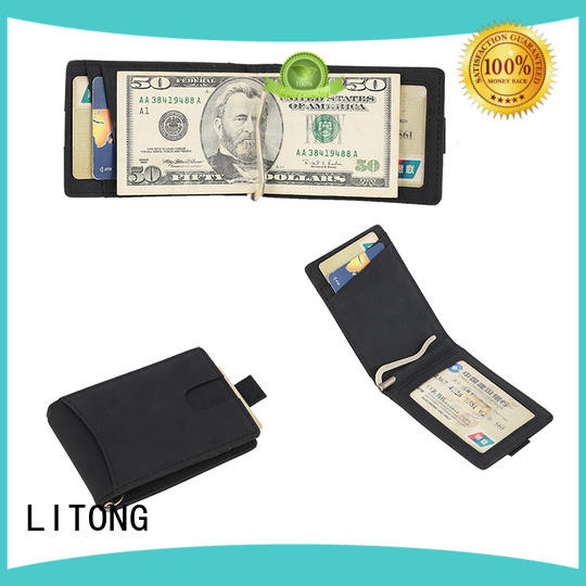 LITONG fashion design custom leather money clip certification for travel
