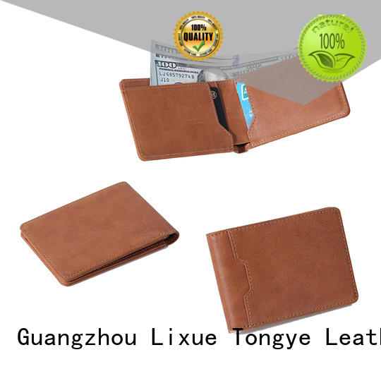 black leather wallet men card window LITONG Brand