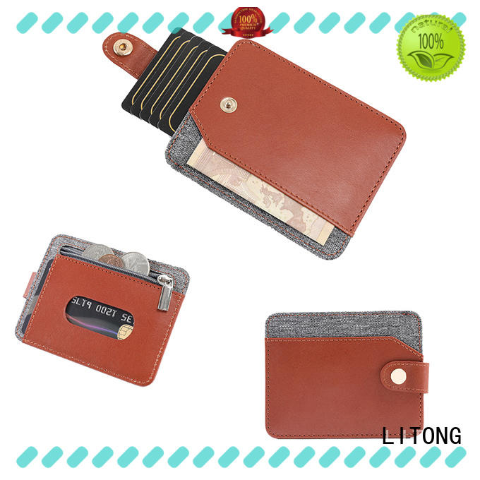LITONG thin leather id card holder certification for credit cards