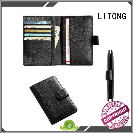 LITONG special custom leather passport holder owner for credit cards