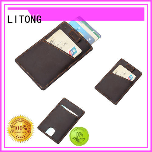 LITONG wallet leather id card holder wholesale for cash