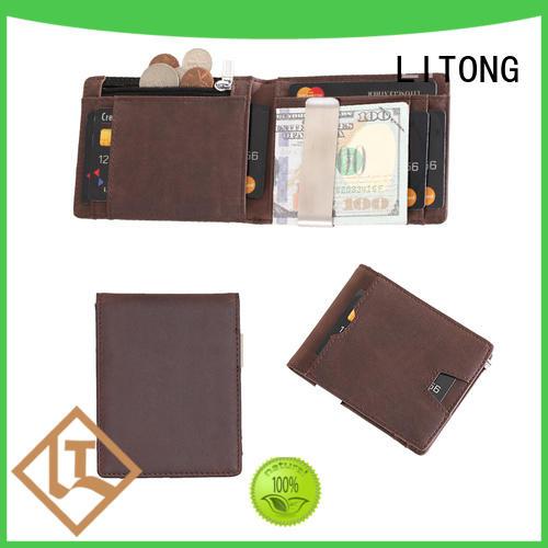 slim custom money clip wallet cowhide certification for promotional gift
