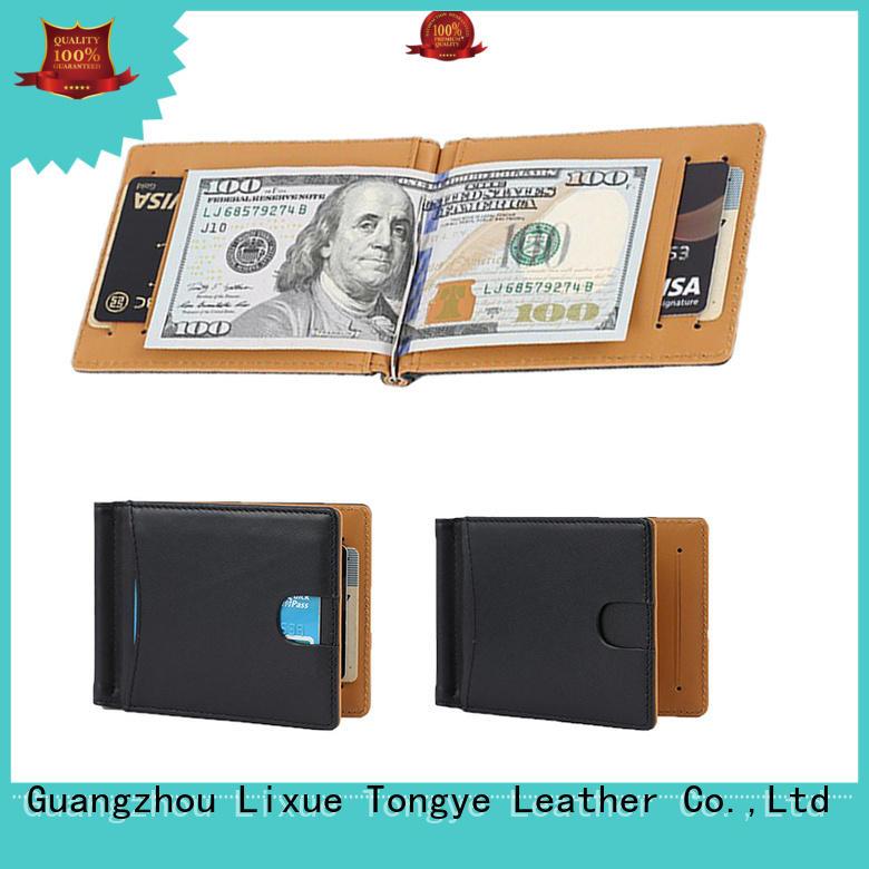 blocking horse leather money clip money LITONG Brand