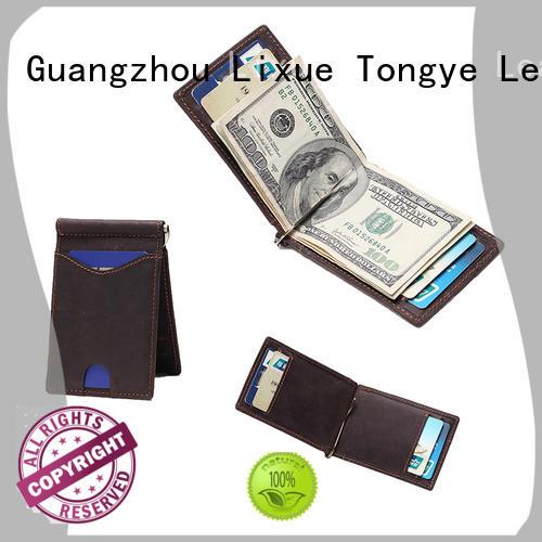 RFID Blocking Slim Bifold Genuine Leather Minimalist Front Pocket Wallets for Men with Money Clip LT-BMM004