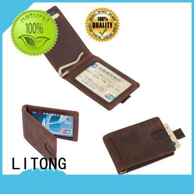 genuine leather credit card holder Crazy horse mens leather money clip  LT-BMM026
