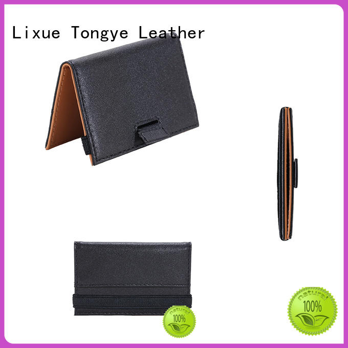 LITONG elegant slim leather card holder owner for RFID blocking