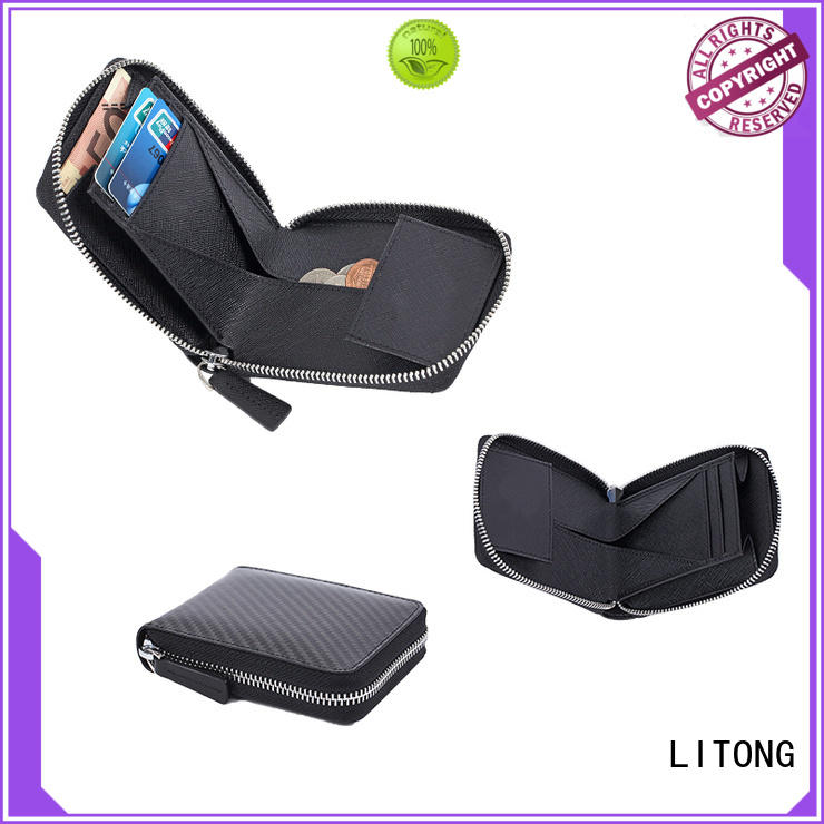 LITONG trifold genuine leather wallet supplier for woman