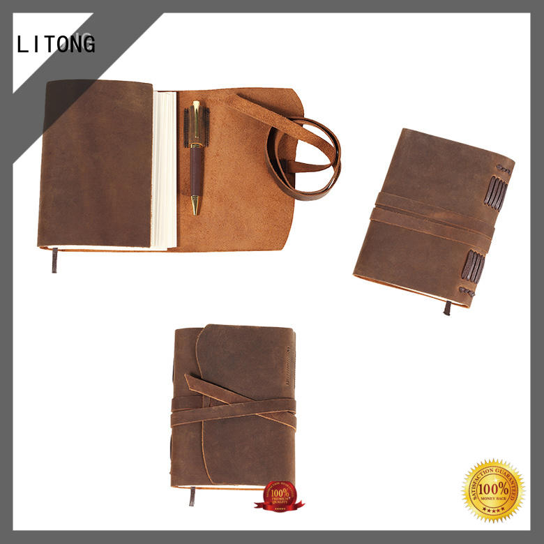 LITONG business custom leather bound journal leather for shipping
