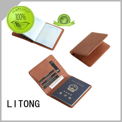 LITONG selling handmade leather passport holder funtionable for passport