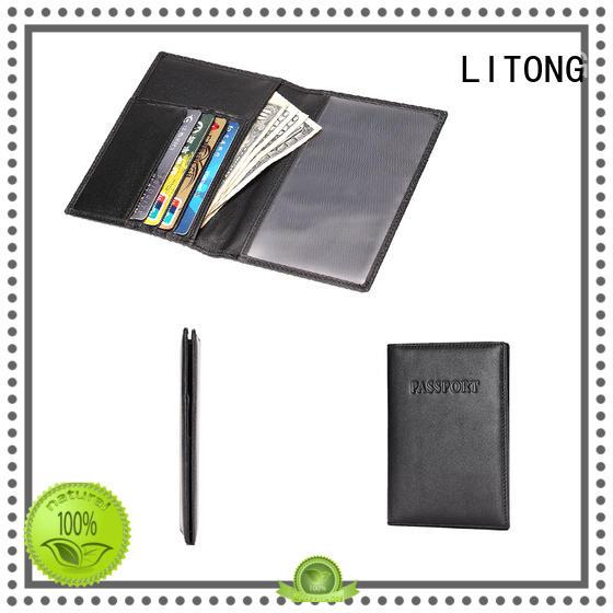 LITONG id mens leather passport holder bulk production for passport