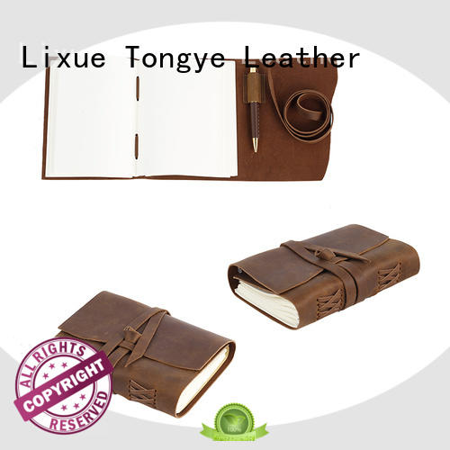 LITONG cover brown leather notebook marketing for travel